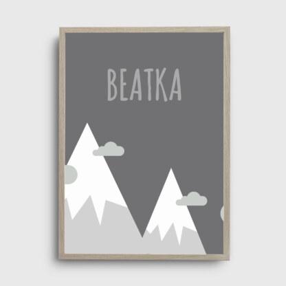 dekoracje do pokoju dziecka plakat z górami i możliwością umieszczenia imienia ukochanej pociechy, plakat personalizowany dla dziecka