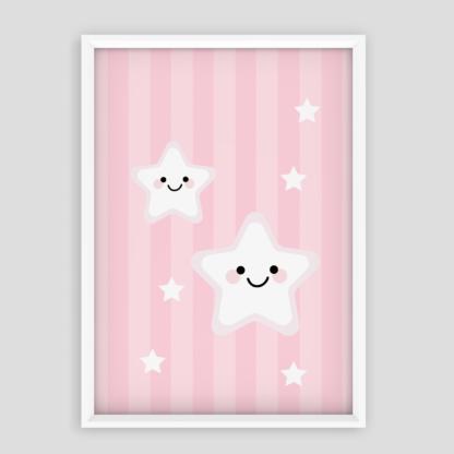 dekoracje do pokoju dziewczynki uśmiechnięte gwiazdki na różowym tle do powieszenia na ściane