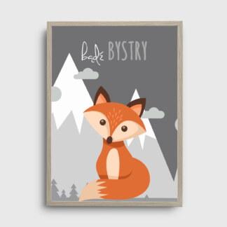 plakaty dla dzieci ozdoby do pokoju dziecięcego rudy lisek na tle szarych gór z napisem bądź bystry plakat ze zwięrzątkiem