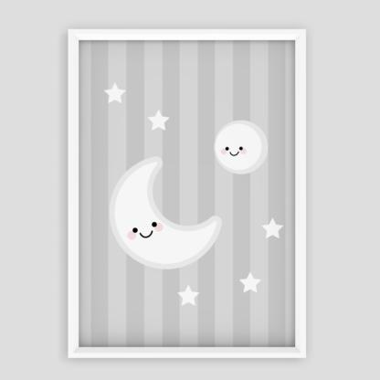 dodatki do pokoju dziewczynki uśmiechnięty księżyc na szarym tle plakat w ramie do powieszenia na ścianie