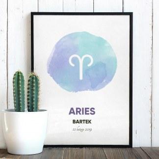Plakat ze znakiem zodiaku w czarnej ramie i znakiem zodiaku aries baran akwarela