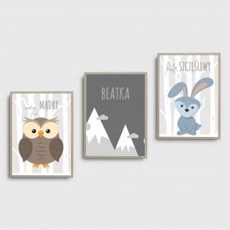 Trzy obrazki plakaty dla dzieci ze zwierzętami idealne do pokoju dziecka sowa góry i zajączek oprawione w ramy do powieszenia w dziecięcym pokoju