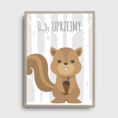 ozdoby do pokoju dziewczynki i chłopca z wiewiórką i napisem bądź uprzejmy na tle pastelowych drzew