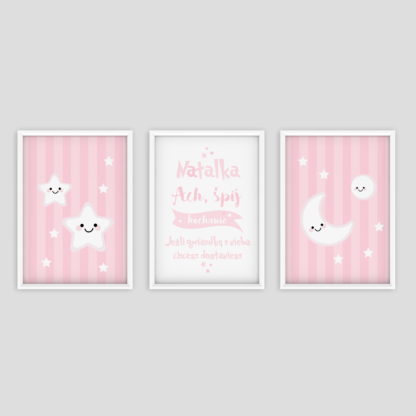 ozdoby do pokoju dziewczynki zestaw trzech plakatów do powieszenia na ścianę z różowymi pastelowymi kolorami
