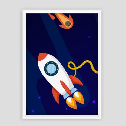 plakat do dziecięcego pokoju rakieta kosmiczna w kosmosie plakat edukacyjny