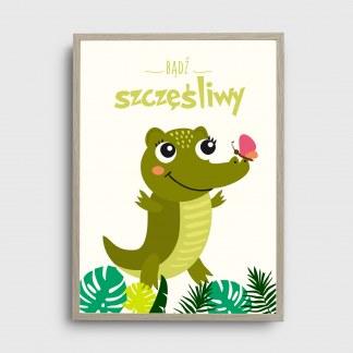 Plakat do pokoju dziecka obrazek safari z miłym uśmiechniętym krokodylkiem i motylem do powieszenia w pokoju dziecka jako idealna ozdoba z napisem bądź szczęśliwy oprawiony w ramę