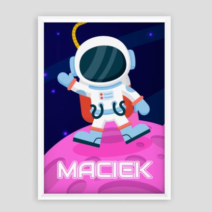 plakaty dla chłopca kosmonauta z możliwością dodania imienia dziecka plakat personalizowany
