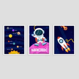 plakaty edukacyjne dla dzieci do pokoju chłopca układ słoneczny kosmonauta w ramie do powieszenia na ścianie i rakieta w kosmosie