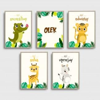 Plakaty obrazki safari do pokoju dziecięcego, możliwością umieszczenia imienia dziecka i zwierzątkami oprawione w ramy do powieszenia w dziecięcym pokoju