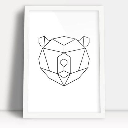 figury geometryczne plakat z głową misia niedźwiedzia prosta ozdoba nowoczesnego wnętrza