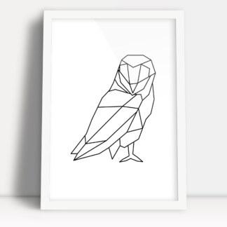 geometryczna sowa plakat w białej ramie do powieszenia w minimalistycznej przestrzeni