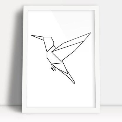 geometryczny wzór plakat z ptakiem kolibrem w białej ramie do powieszenia na ścianie