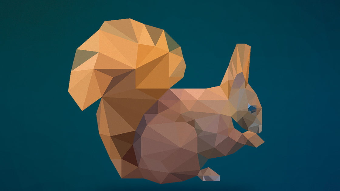 obraz z figur geometrycznych wiewiórka nowoczesna ozdoba