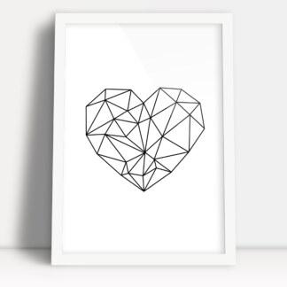 plakat figury geometryczne serce dla zakochanych w białej ramie