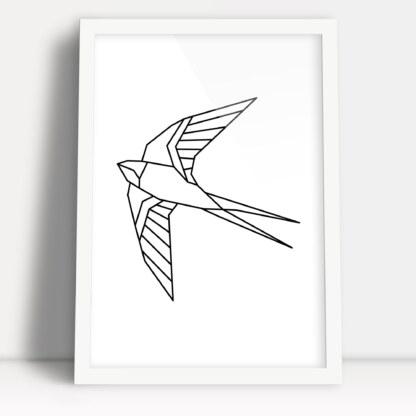 plakat geometryczny wzór ptak jaskółka nowoczesna minimalistyczna ozdoba