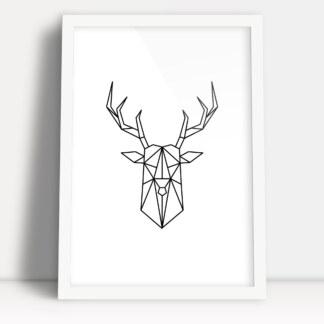 plakat pola figur geometrycznych głowa jelenia z porożem minimalistyczna ozdoba do nowoczesnego wnętrza