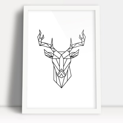 plakat z figur geometrycznych jeleń do powieszenia na ścianie w białej ramie plakatowej