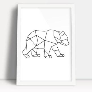 plakat z figur geometrycznych sylwetka niedźwiedzia w formie minimalistycznej ozdoby