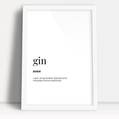 plakaty do kuchni z napisami angielskimi gin i definicją słowa w białej ramie do powieszenia na ścianie