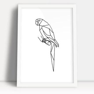pola z figur geometrycznych w formie plakatu z minimalistyczną papugą w białej ramie