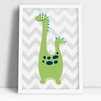 dinozaur na plakacie dla dzieci pastelowe kolory w ramce do powieszenia na ścianie