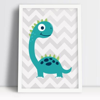 dinozaur plakat dla dzieci z długą szyją i szerokim uśmiechem w kolorach boho