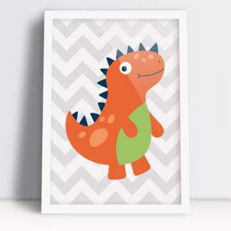 dinozaur w formie plakatu do pokoju chłopca ciepła kolorystyka