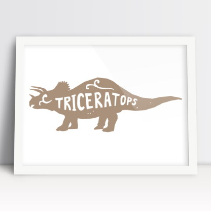 plakaty do pokoju dziewczynki dinozaury triceratops ozdoba do zawieszenia na ścianie beżowy
