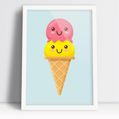 lód rożek w formie plakatu do dziecięcego pokoju dziewczynki lub chłopaka pastelowe kolory i biała rama