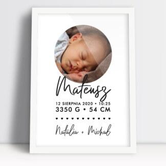 metryczki dla dzieci ze zdjęciem personalizowane z danymi po urodzeniu dziecka niezapomniany prezent