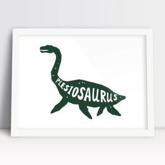 obrazek do pokoju dziecięcego dinozaur plezjozaur zielony w białej ramie do powieszenia w pokoju chłopca