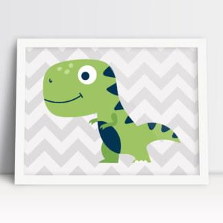 plakat do pokoju dziewczynki z dinozaurem w ciepłych pastelowych kolorach i szerokim uśmiechem