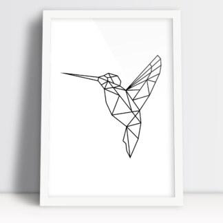 plakat figury geometryczne ptak koliber do powieszenia w nowoczesnej przestrzeni w białej ramie
