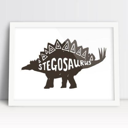 plakaty na ścianę dla dzieci dinozaury stegozaur brązowy do powieszenia w pokoju chłopca