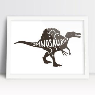plakaty dla chłopca dinozaur spinozaur brązowy w białej ramie do powieszenia na ścianie dziecięcego pokoju