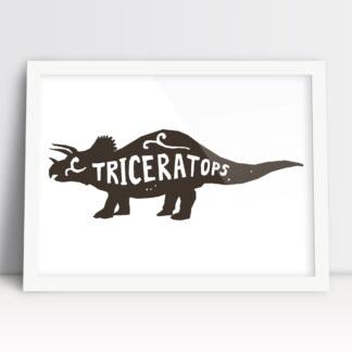 plakaty do pokoju chłopca triceratops edukacyjne z nazwą dinozaura
