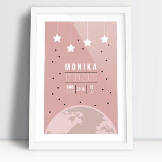 plakaty do pokoju niemowlaka różowe kolory z danymi dziecka z urodzin w białej ramie gotowe do powieszenia