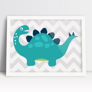 plakat do pokoju chłopca z dinozaurami w ciepłe kolory boho i w białej ramie