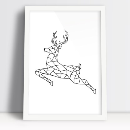 plakat zwierzęta z figur geometrycznych prosty jeleń w formie plakatu