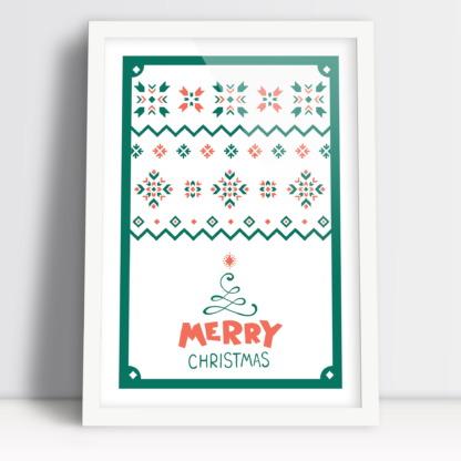 Merry Christmas plakat świąteczny na Boże Narodzenie