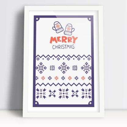 Merry Christmas plakaty świąteczne z motywem świątecznych skarpetek i rękawiczki