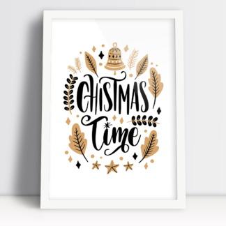 Plakat boże narodzenie Christmas Time z akcentami świątecznymi