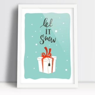 plakat Boże Narodzenie let it snow z prezentem i padającym śniegiem