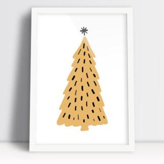 Plakat Boże Narodzenie z świąteczną choinką jako ozdoba świątecznego stołu