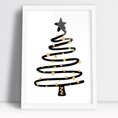 Plakat Bożonarodzeniowy do salonu na święta z świątecznymi bombkami