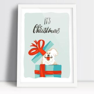 plakat bożonarodzeniowy it's Christmas time z prezentem i pieskiem