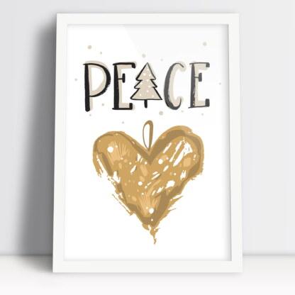 plakat bozonarodzeniowy z bombką w kształcie serca