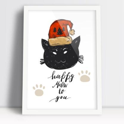 plakat bożonarodzeniowy z kotem i życzeniami dla wielbicieli kotów