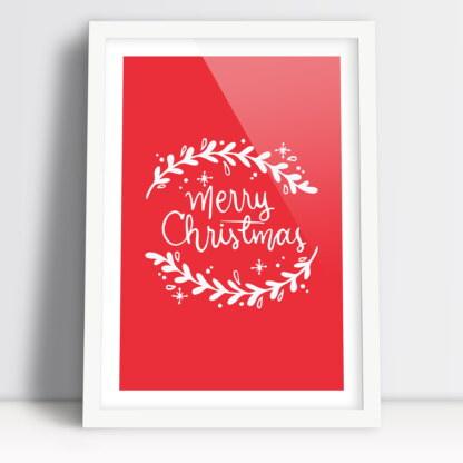Plakat Bozonarodzeniowy z napisem Merry Christmas na świątecznym czerwonym tle
