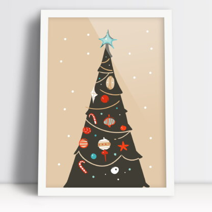 Plakat choinka z bombkami Boże Narodzenie ozdóbka świątecznego czasu